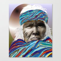 colorful blanket wrapping a native american gentleman Canvas Print