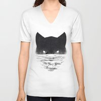 sale V-neck T-shirts featuring Wolfy by Dan Burgess