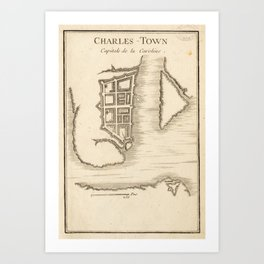 Vintage Map of Charleston SC (1755) Art Print
