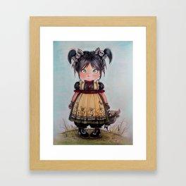 gothic girl and funny skulls Framed Art Print