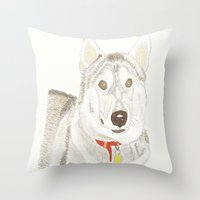 husky Throw Pillows featuring Husky by Lee Watson