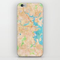 boston map iPhone & iPod Skins featuring Boston region watercolor map by Cityette