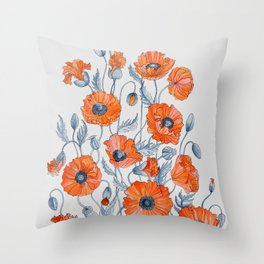 Poppies botanical art Throw Pillow
