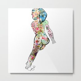 Beautiful Floral Lady Metal Print