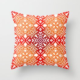 Tribal Tiles II (Red, Orange, Brown) Geometric Throw Pillow
