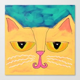 Funky Kitty Abstract Digital Cat Painting Canvas Print