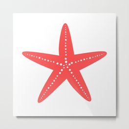 Starfish (Salmon & White) Metal Print