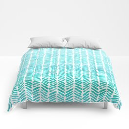 Handpainted Chevron pattern - small - light green and aqua teal Comforters