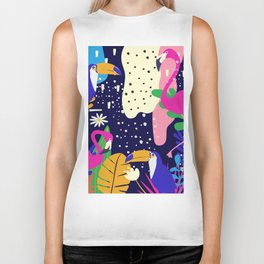 Colorful tropical forest flamingos and parrot Biker Tank