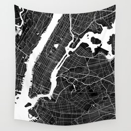 New York - Minimalist City Map Wall Tapestry