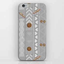 Scarves Knitted Buttoned - Gray iPhone Skin