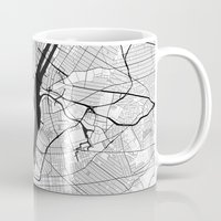 new york map Mugs featuring New York Map Gray by City Art Posters