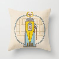 pocket fuel Throw Pillows featuring Fuel Up by Rachael Sinclair