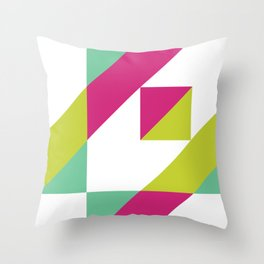 Hot Pink and Neon Chartreuse Color Block Throw Pillow