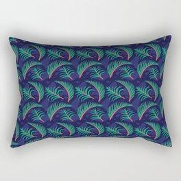 Vibrant Forest Ferns - Navy Rectangular Pillow