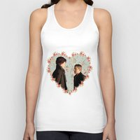 johnlock Tank Tops featuring Hearted Johnlock by thescudders