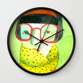 Portrait with glasses Wall Clock