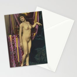 Erotic French Nude Postcard Victorian Vintage Posing Lady Stationery Cards