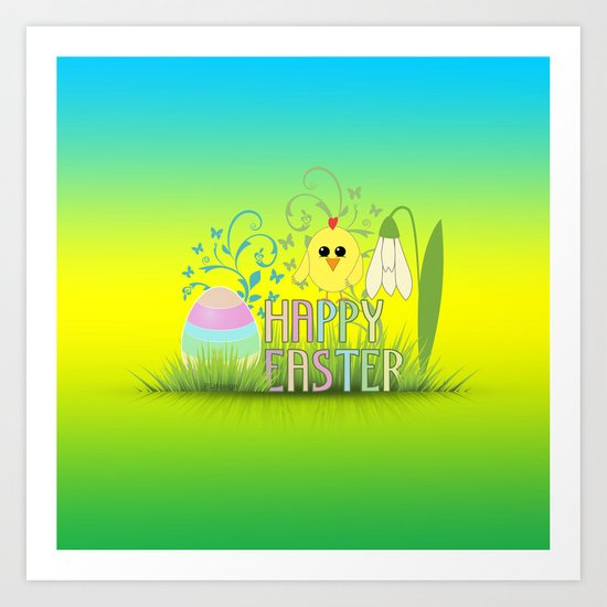 Happy Easter Egg, Chick and Snowdrop Art Print