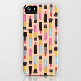 Lipstick and makeup Brushes Pastel Watercolor Artwork | Make-up Pattern | Orange Makeup pattern iPhone Case