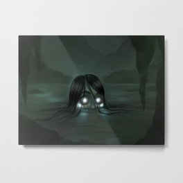 Bioluminescent Mermaid Metal Print