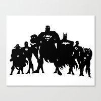 justice league Canvas Prints featuring Justice League Silhouette by iankingart
