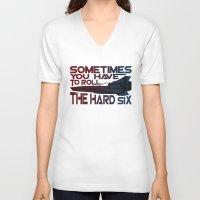 battlestar V-neck T-shirts featuring Hard Six by Stuckey