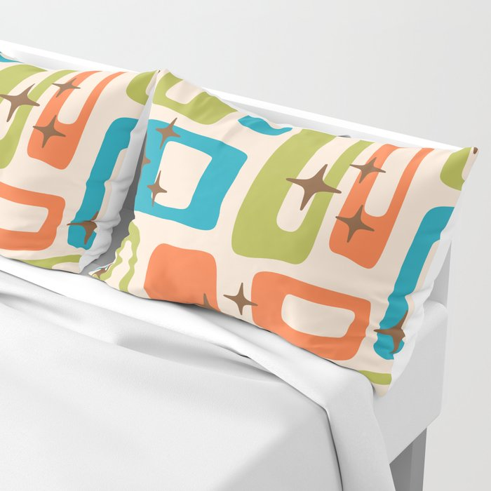Retro Mid Century Modern Abstract Pattern 921 Orange Chartreuse Turquoise Pillow Sham