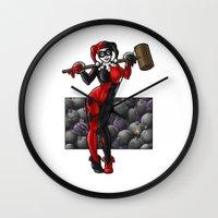 harley quinn Wall Clocks featuring Harley Quinn by Tash O'Toole