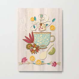 Time For Tea With Friends Series: Floral Tea 4 Metal Print