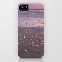 The Beach Of The Shells. Purple sunset iPhone Case