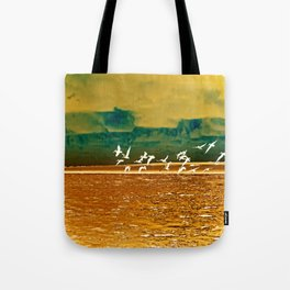 A Flock of White Pelicans Watercolor Tote Bag