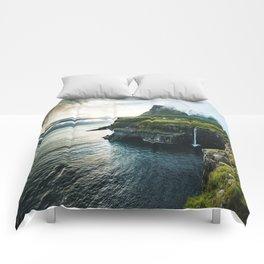 waterfall at faroe Comforters