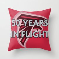nfl Throw Pillows featuring NFL - Falcons 50 Years by Katieb1013