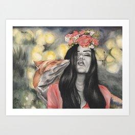 Fox & Flowers Art Print