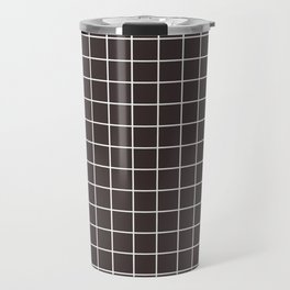Black coffee - grey color - White Lines Grid Pattern Travel Mug