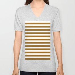 Narrow Horizontal Stripes - White and Golden Brown Unisex V-Neck