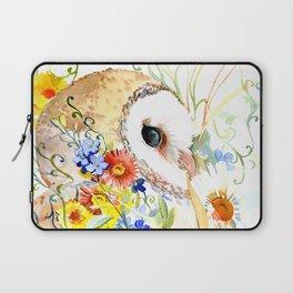 barn owl and flowers floral owl decor artwork Laptop Sleeve