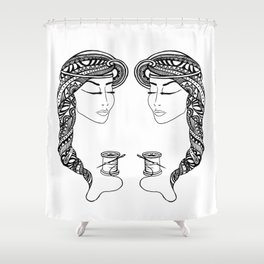 Reep What You Sew | Black and White Illustration Shower Curtain