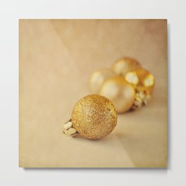 Gold glittery Christmas baubles. Metal Print