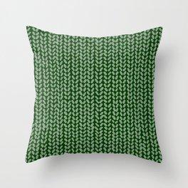 Forest Green Knit Throw Pillow