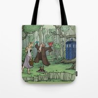 hallion Tote Bags featuring Visions are Seldom all They Seem by Karen Hallion Illustrations