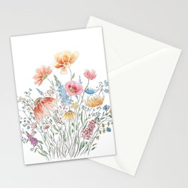 wild flower bouquet and blue bird- ink and watercolor 2 Stationery Cards