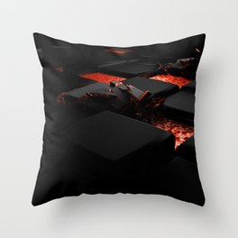 3D Lava Blocks Throw Pillow