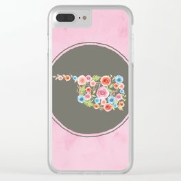 Oklahoma Watercolor Flowers on Pink and Gray Clear iPhone Case