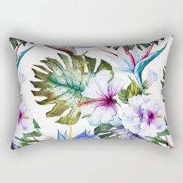 Watercolor Tropical Hibiscus Rectangular Pillow