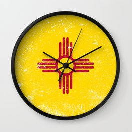 New Mexico State Flag Grunge Wall Clock