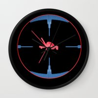 nasa Wall Clocks featuring Tie Fighter Meets NASA Voyager 1 by Ryan Huddle House of H