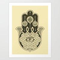 hamsa Art Prints featuring Hamsa by Joel Amat Güell