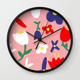 Large Handdrawn Bacchanal Floral Pop Art Print Wall Clock
